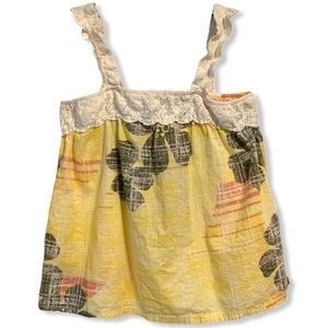 Roxy Floral Tank Top Yellow Ruffle Strap Small